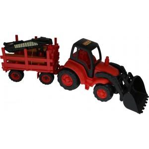 Чемпион, трактор с ковшом прицеп-лесовоз 0483