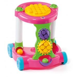 Каталка игровая с конструктором розовая 58140