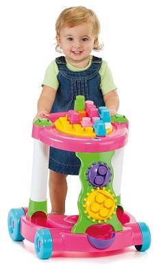 Купить игрушку Полесье - Каталка игровая с конструктором розовая 58140