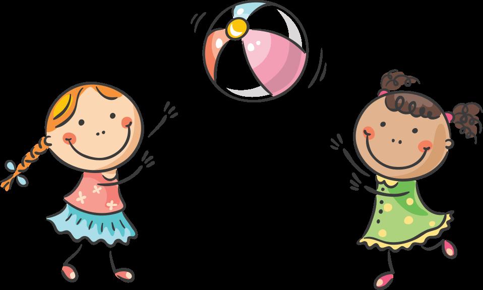 девочки играют с мячиком