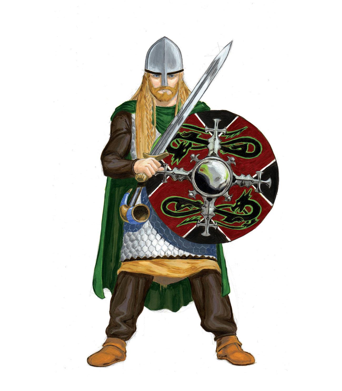 нарисованный викинг с мечом и щитом