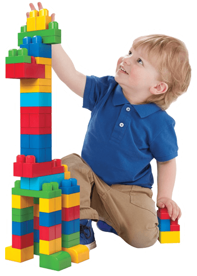 child with lego duplo bricks
