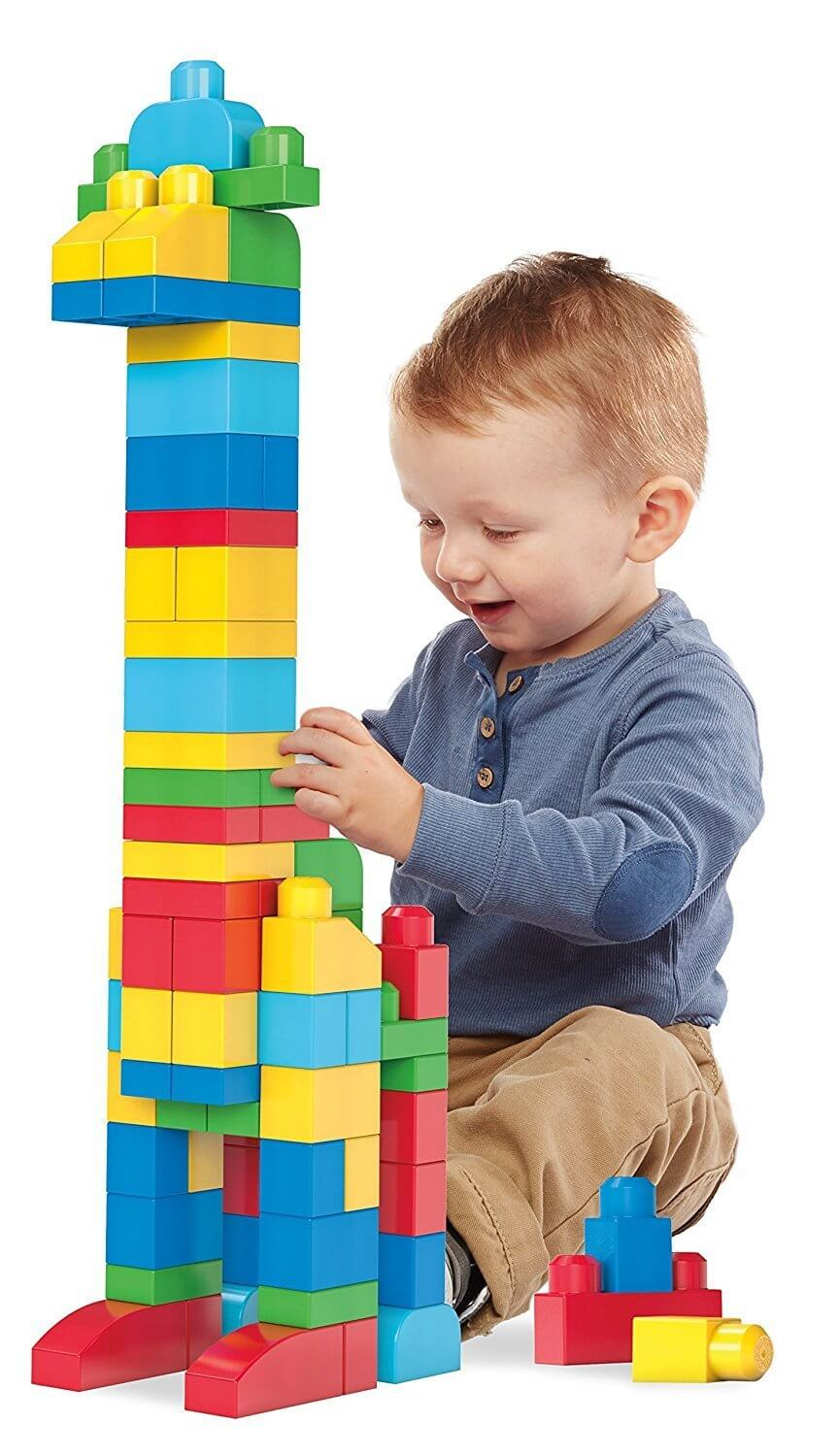 child playing with lego duplo