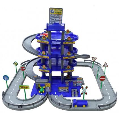 Паркинг 4-уровневый с дорогой и автомобилями синий 44716